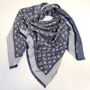 Louis Vuitton LV Monogram Shawl Blue Denim Scarf